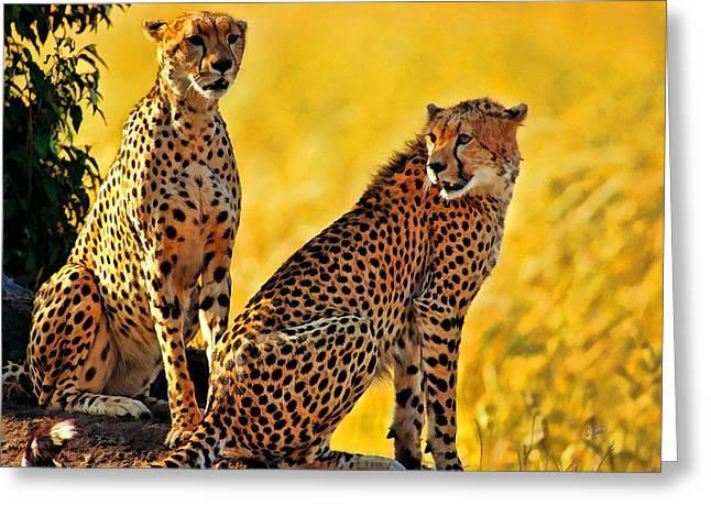 Sister Cheetahs Greeting Card