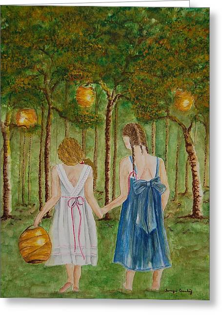 Sisters At Twilight Greeting Card