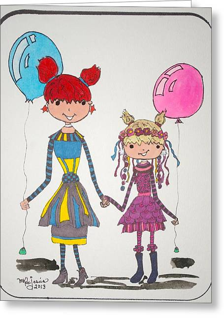 Sisters Friends Greeting Card by Mary Kay De Jesus
