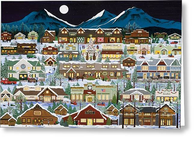 The Village Under The Cascades Greeting Card by Jennifer Lake
