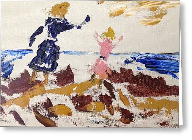 Sisters In The Sand Dunes Greeting Card