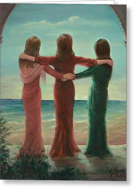 Greeting Card featuring the painting Sisters by Laila Awad Jamaleldin