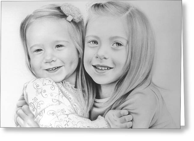 Greeting Card featuring the drawing Sisters by Natasha Denger