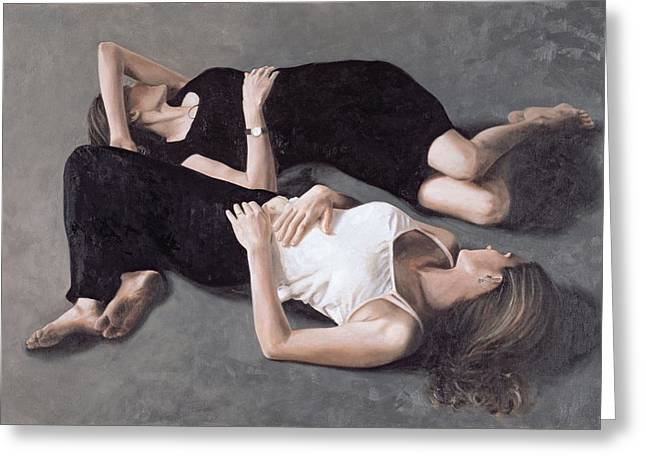 Sisters Oil On Canvas Board Greeting Card