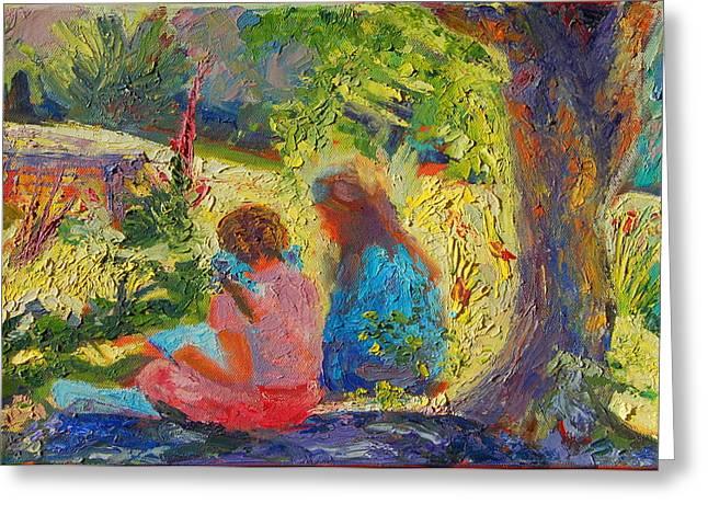 Sisters Reading Under Oak Tree Greeting Card by Thomas Bertram POOLE