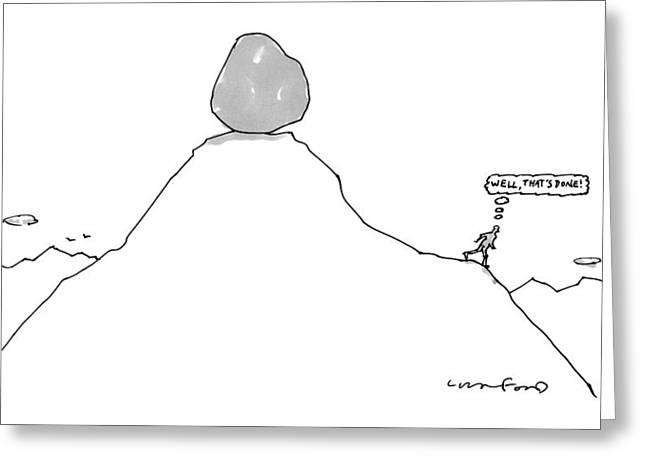 Sisyphus Balances The Boulder At The Top Greeting Card