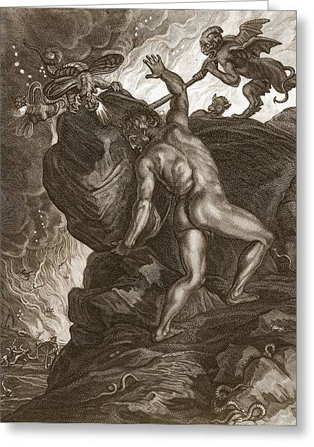 Sisyphus Pushing His Stone Greeting Card by Bernard Picart