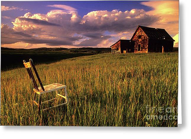 Pioneer Homes Photographs Greeting Cards - Sit A Spell Greeting Card by Bob Christopher