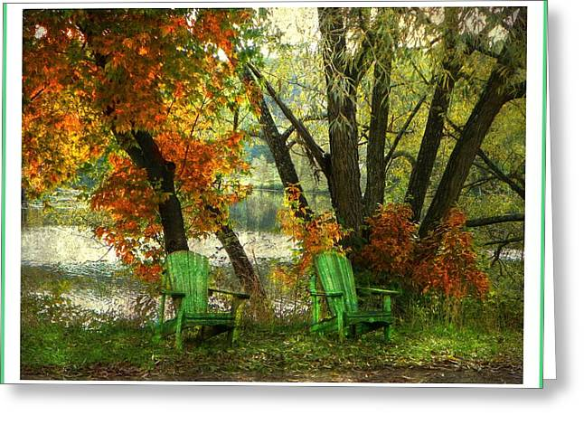 Sit A While Greeting Card by Dianne  Lacourciere