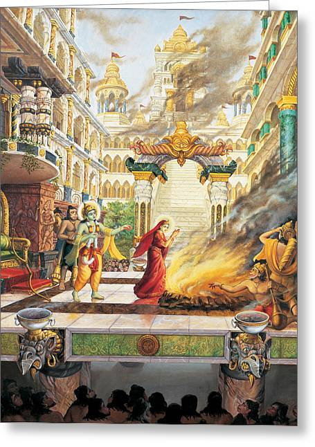 Sita Going To Fire Greeting Card by Vrindavan Das