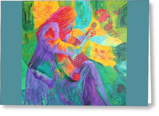 Greeting Card featuring the painting Sit'n And Pick'n by Nancy Jolley