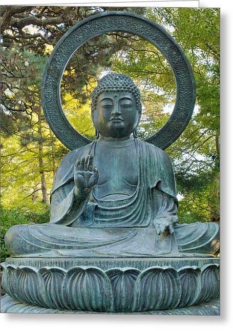 Sitting Bronze Buddha At San Francisco Japanese Garden Greeting Card by David Gn