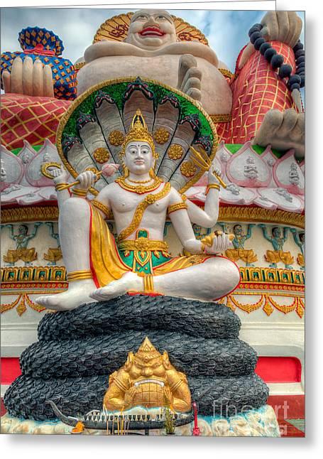 Sitting Buddhas Greeting Card by Adrian Evans