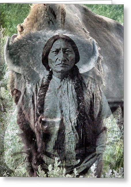 Sitting Bull . Lakota Sioux Holy Man Greeting Card by Patricia Januszkiewicz