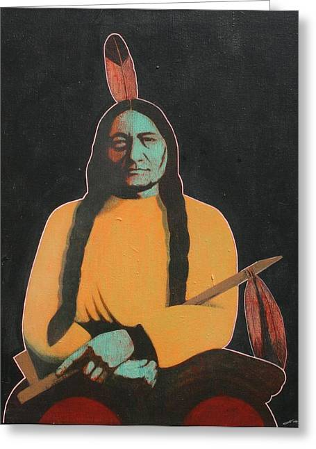 Sitting Bull Greeting Card by J W Kelly