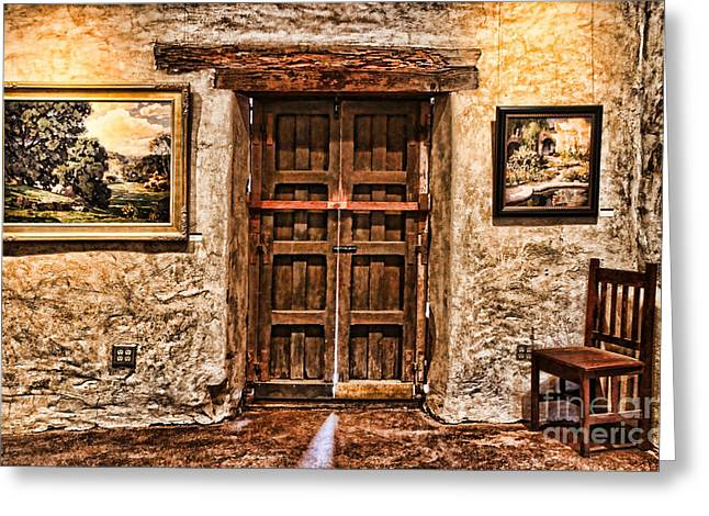 Sitting By The Door By Diana Sainz Greeting Card