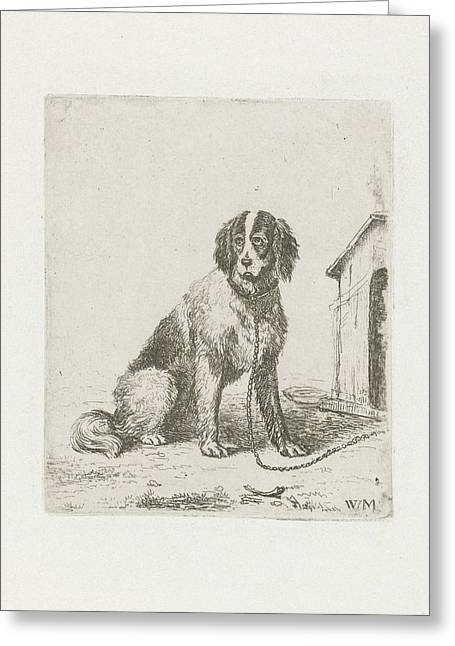 Sitting Dog Chained To A Doghouse, Christiaan Wilhelmus Greeting Card