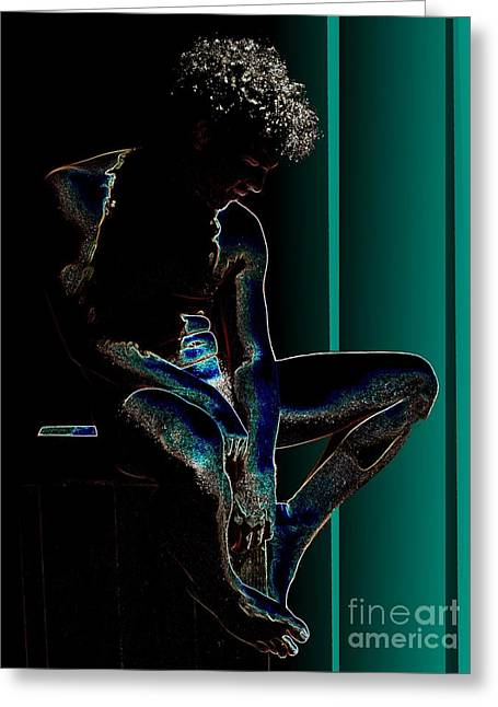 Sitting In The Turquoise Sun Greeting Card by Robert D McBain