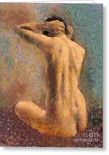 Sitting Nude 3 Greeting Card by Dragica  Micki Fortuna