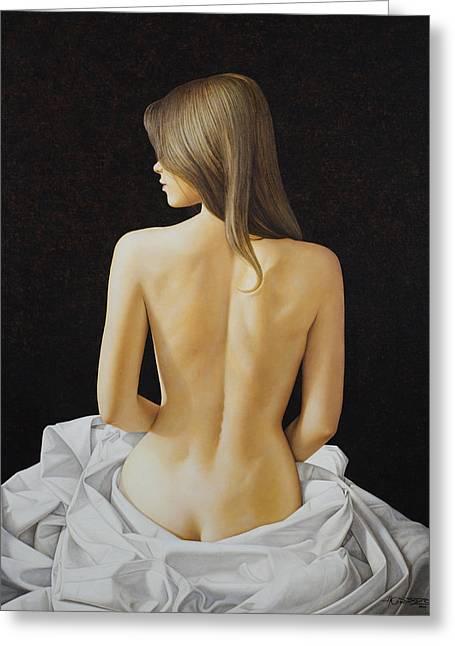 Sitting Nude Greeting Card by Horacio Cardozo