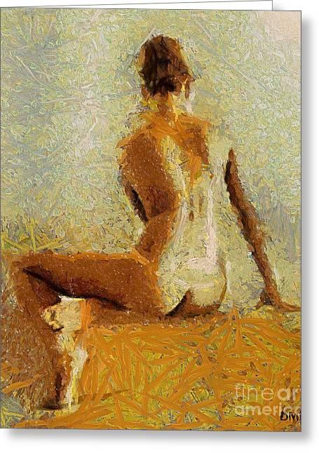 Sitting Nude II Greeting Card by Dragica  Micki Fortuna