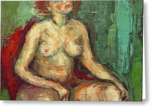 Female Nude In Red Chiar Greeting Card by Becky Kim
