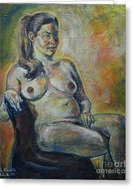 Sitting Nude Greeting Card