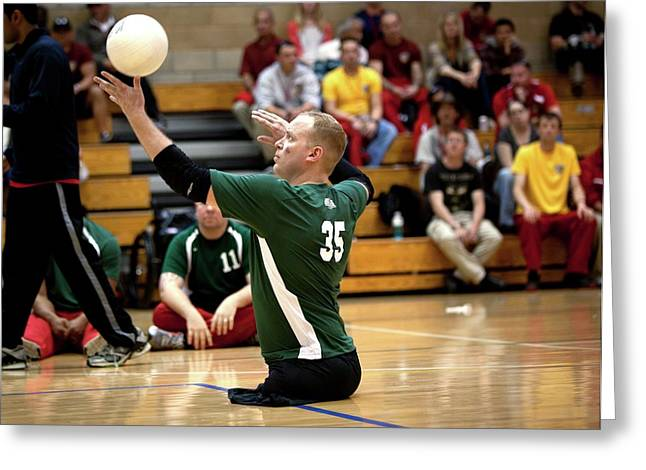 Sitting Volleyball Greeting Card by Us Air Force/mark Fayloga