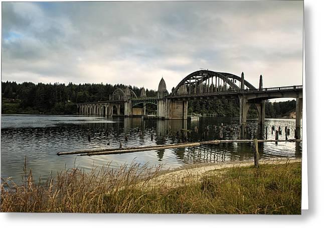 Siuslaw River Bridge Greeting Card by Belinda Greb
