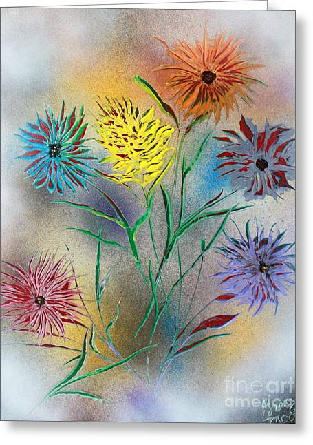 Six Flowers Greeting Card by Greg Moores