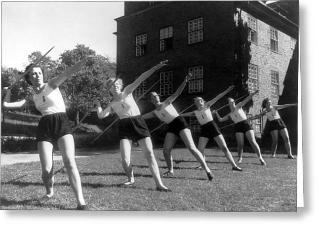 Six Girls Throwing Javelins Greeting Card