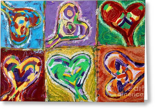 Six Hearts Greeting Card by Kelly Athena