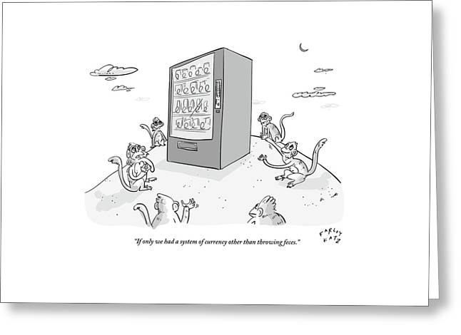 Six Monkeys Surround A Vending Machine On Top Greeting Card by Farley Katz