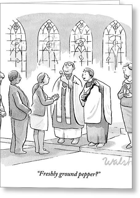 Six People In Church Greeting Card