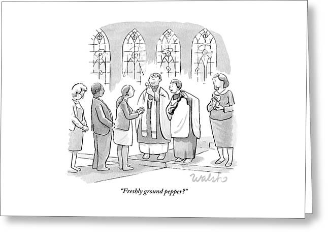 Six People In Church Greeting Card