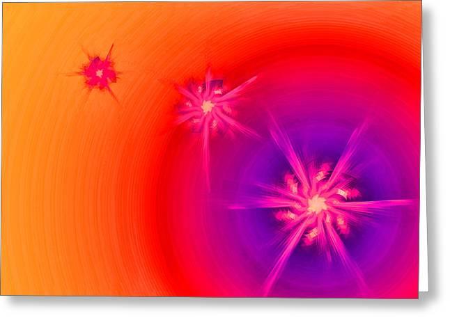 Six-point Star On Purple And Orange Greeting Card by Kayta Kobayashi