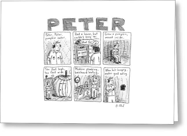Six Rhyming Panels About A Man Who Moves Greeting Card by Roz Chast