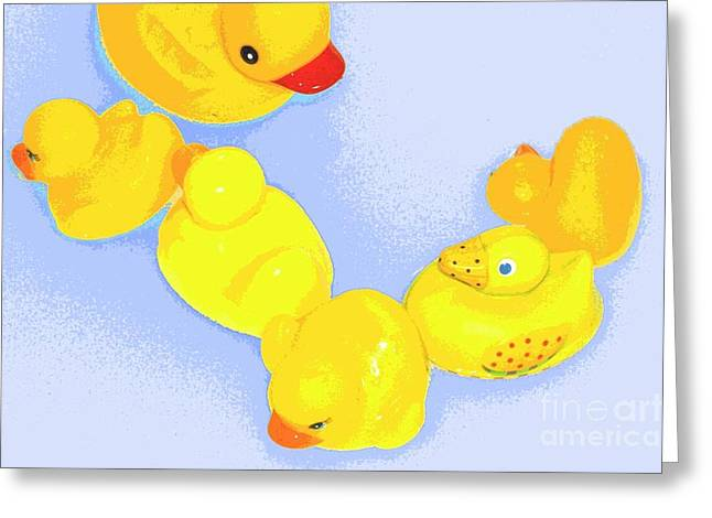 Greeting Card featuring the digital art Six Rubber Ducks by Valerie Reeves