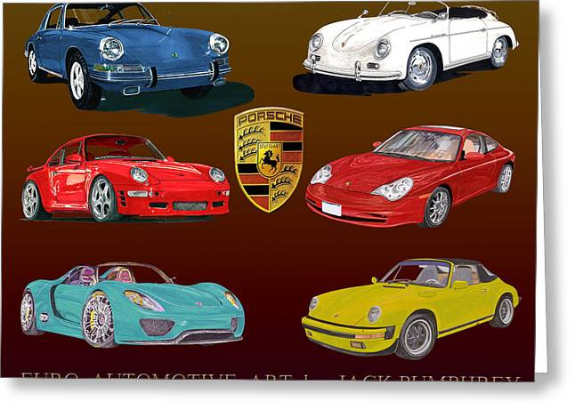 Six Sexy Slick Porsche Automobiles Greeting Card by Jack Pumphrey