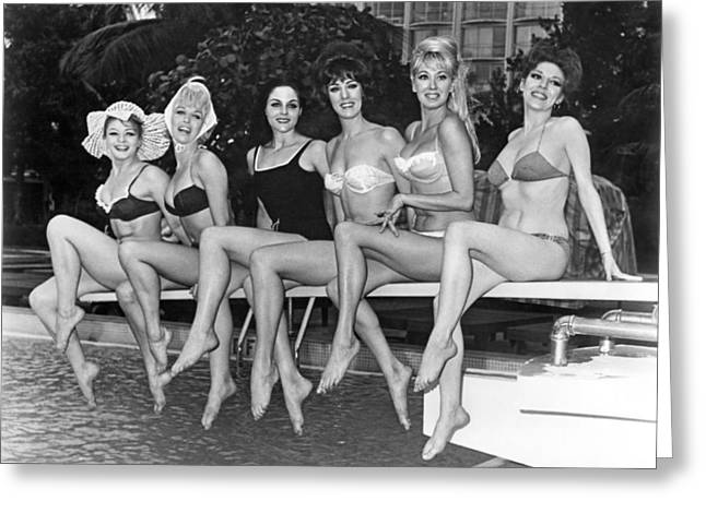Six Showgirls At The Pool Greeting Card by Underwood Archives