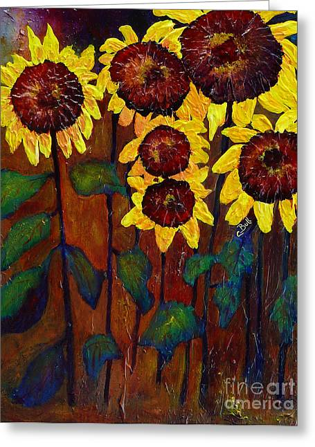 Six Sunflowers Greeting Card by Claire Bull
