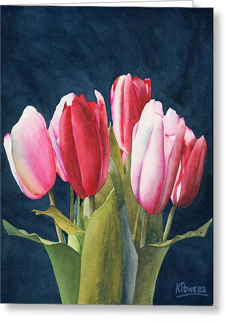 Greeting Card featuring the painting Six Tulips by Ken Powers