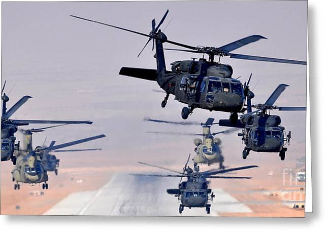 Six Uh-60l Black Hawks And Two Ch-47f Chinooks Greeting Card by Paul Fearn