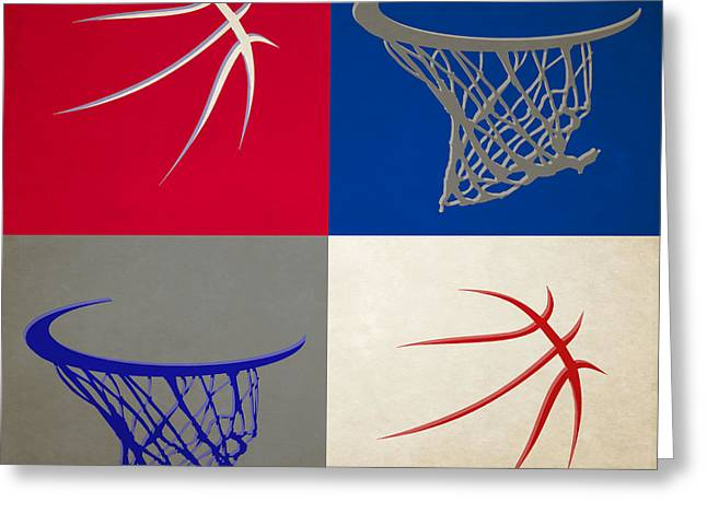 Sixers Ball And Hoop Greeting Card by Joe Hamilton