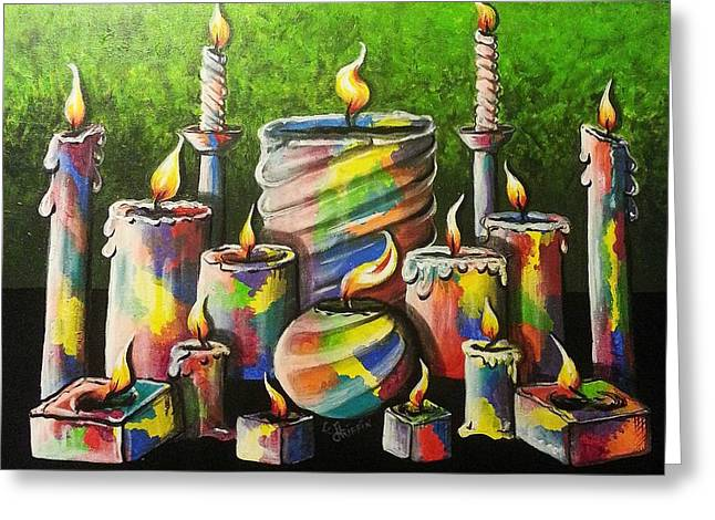 Sixteen Colorful Candles With Flames Glowing Brightly Greeting Card