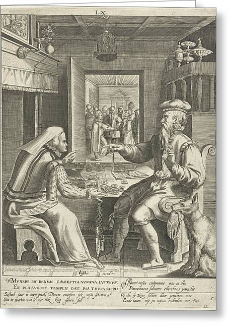 Sixth Life Of Sixty Years With Man Counting His Money Greeting Card by Assuerus Van Londerseel And Nicolaes De Bruyn And Claes Jansz. Visscher (ii)