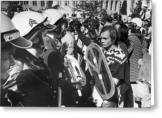 Sixties Protest Face Off Greeting Card by Underwood Archives
