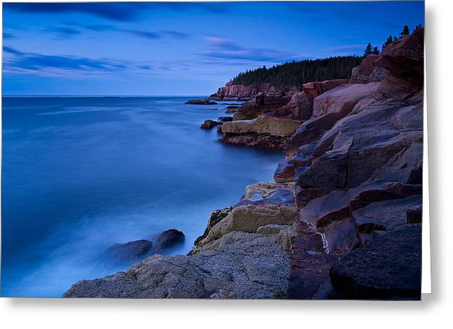 Sixty One Seconds In The Blue Hour Otter Cliffs Acadia National Park Greeting Card by Jeff Sinon