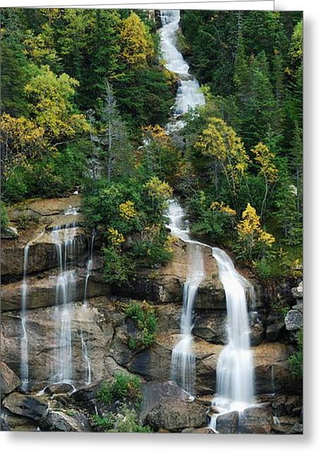Skagway Waterfall Vertical Panorama Greeting Card by Michael Peychich