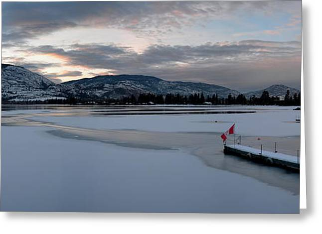 Skaha Lake Sunset Panorama 02-27-2014 Greeting Card